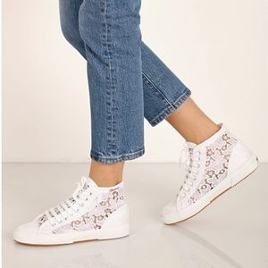 Superga White Lace High-top Sneakers